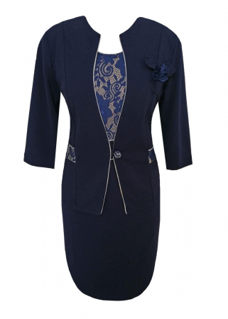 Costum dama cu maneca trei sferturi si brosa - Sonia Bleumarin0
