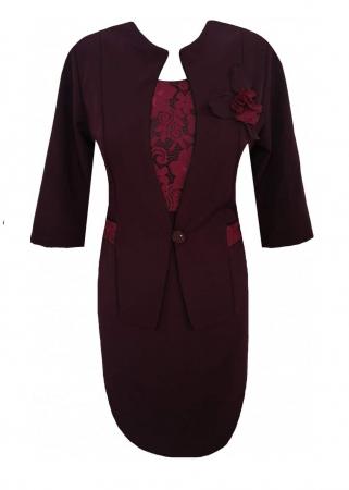 Costum dama din stofa cu maneca trei sferturi - Sonia Grena0
