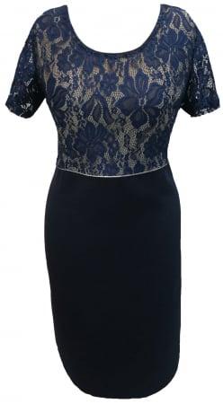 Costum dama din stofa si dantela bleumarin - Sonia Bleumarin1