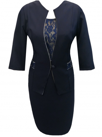 Costum dama din stofa si dantela bleumarin - Sonia Bleumarin0