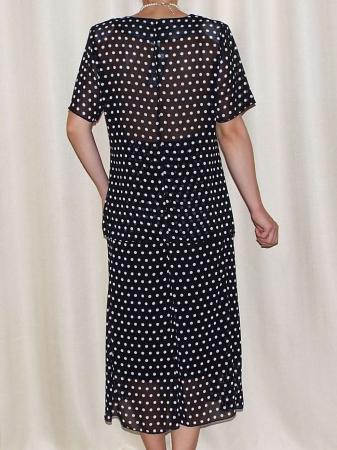 Costum dama din voal cu buline si brosa - Rodica Negru1