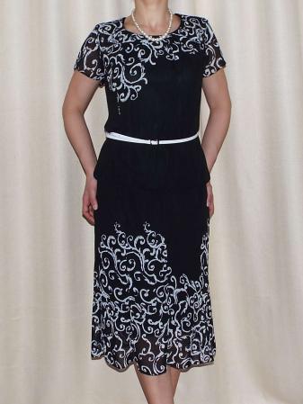 Costum dama din voal cu imprimeu si maneca scurta - Cecilia Negru [0]