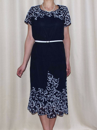 Costum dama din voal imprimat si maneca scurta - Cecilia Bleumarin0