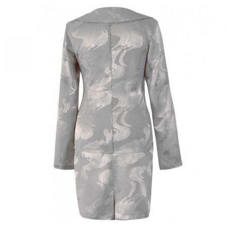 Costum dama elegant din jacard gri cu maneca lunga - CO10FS101