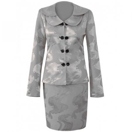 Costum dama elegant din jacard gri cu maneca lunga - CO10FS100