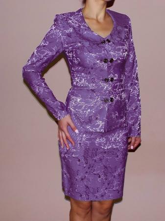 Costum dama elegant din jacard mov - C011FS110