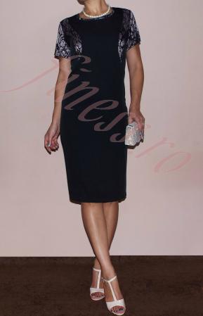 Costum dama elegant din stofa si dantela - Teodora [2]