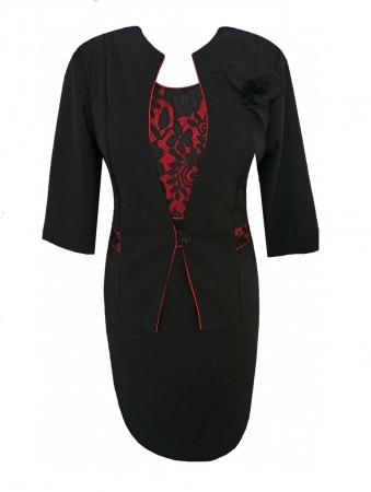 Costum elegant cu maneca trei sferturi si brosa - Sonia Negru [0]