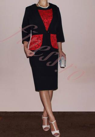 Costum elegant dama din stofa si dantela - Nadia1