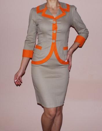 Costum elegant din bumbac bej cu insertii portocalii – C016F161
