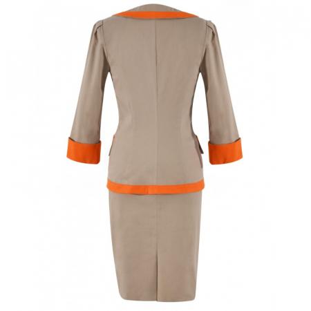 Costum elegant din bumbac bej cu insertii portocalii – C016F162