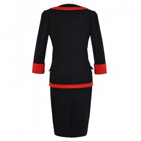 Costum elegant din bumbac negru cu rosu - C001FS31
