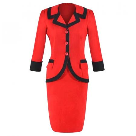 Costum elegant din bumbac rosu cu insertii negre - C001FS4 [0]