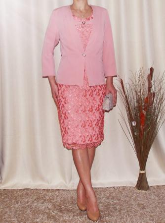 Costum elegant din dantela si stofa roz piersica - Madalina [0]