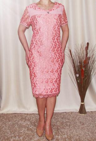 Costum elegant din dantela si stofa roz piersica - Madalina [1]