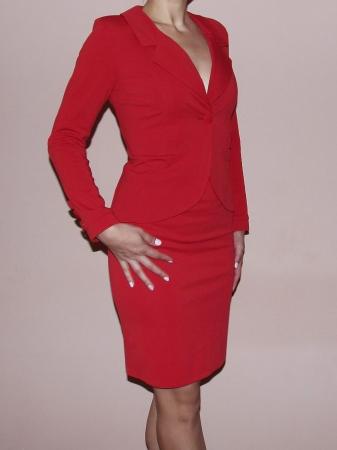 Costum office elegant rosu cu maneca lunga - C017F170
