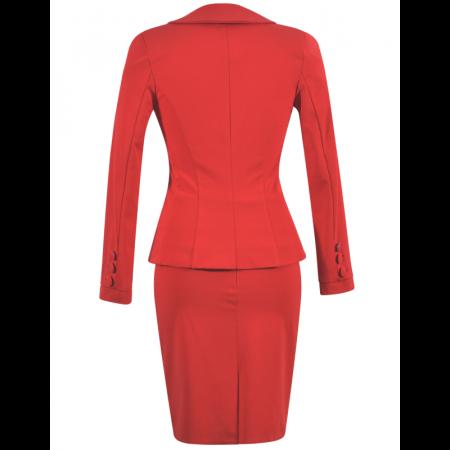 Costum office elegant rosu cu maneca lunga - C017F171