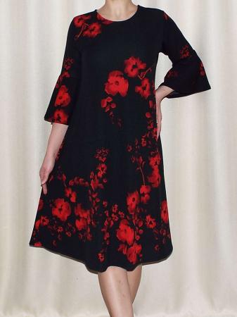 Rochie lejera de zi cu imprimeu floral - Matilda Rosu1