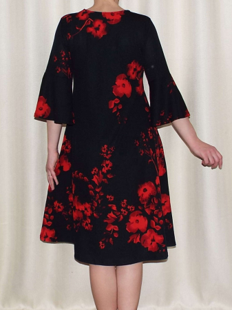 Rochie lejera de zi cu imprimeu floral - Matilda Rosu2