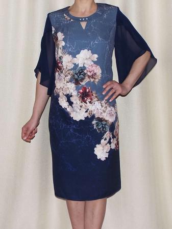 Rochie eleganta din stofa cu maneci din voal - Eliana Bleumarin [1]