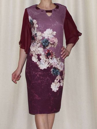 Rochie eleganta din stofa cu maneci din voal - Eliana Bordo0
