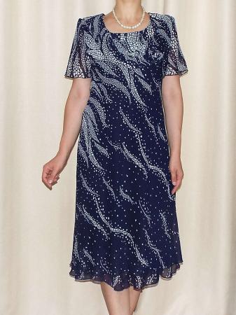 Rochie eleganta din voal bleumarin cu imprimeu  - Alexandra 10 [0]