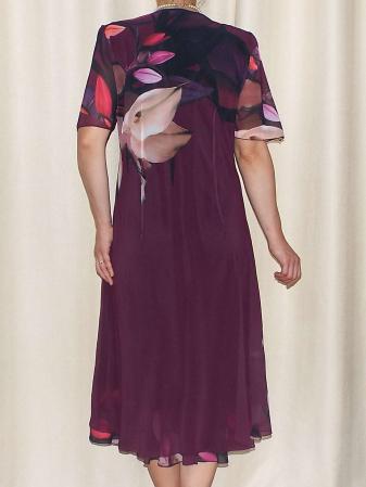 Rochie vaporoasa din voal cu imprimeu floral - Victoria Mov [1]