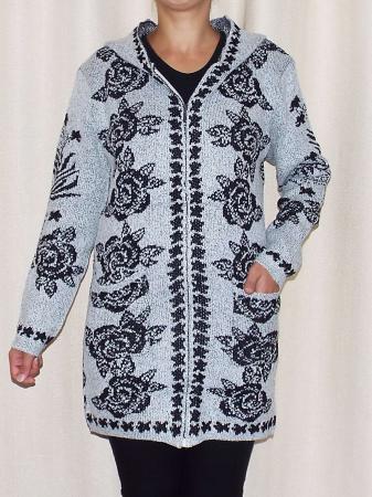 Cardigan dama tricotat gri cu gluga si buzunare - C016 [0]