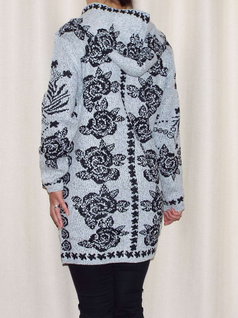 Cardigan dama tricotat gri cu gluga si buzunare - C016 [2]