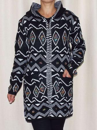 Cardigan dama din tricot cu gluga si buzunare  -C014 [0]