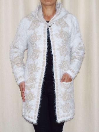 Cardigan dama tricotat cu gluga si buzunare - C013 [1]