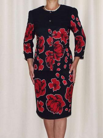 Compleu dama office cu imprimeu floral - Erin Rosu [0]