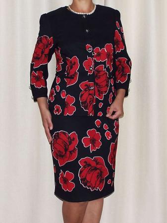 Compleu dama office cu imprimeu floral - Erin Rosu [1]
