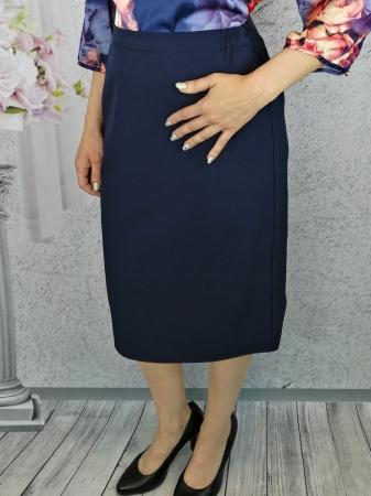Fusta de zi din stofa bleumarin cu elastic in talie - F0120