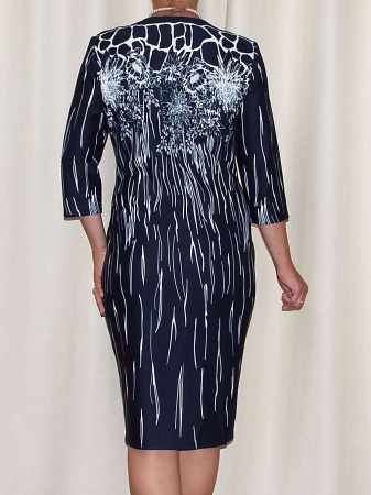 Rochie eleganta bleumarin cu imprimeu si accesoriu - Greta [2]