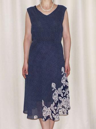 Rochie vaporoasa din voal bleumarin cu imprimeu - Karina [2]