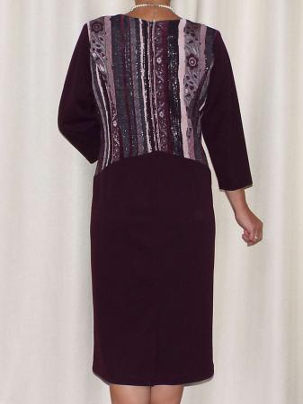 Rochie eleganta cu imprimeu si maneca trei sferturi - Liana Mov Pruna [2]