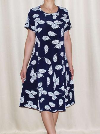 Rochie de zi bleumarin cu imprimeu cu frunze - Mirabela 30
