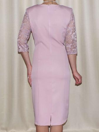 Rochie eleganta din stofa si dantela - Octavia Roz Pudra1