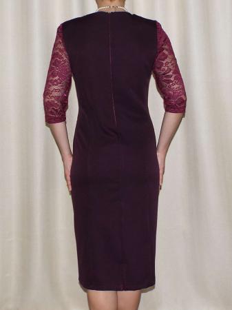 Rochie midi eleganta din stofa si dantela - Octavia Grena [1]