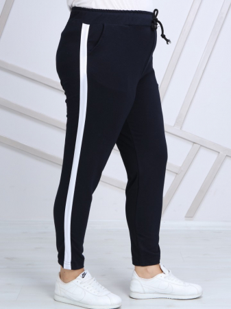 Pantaloni dama sport din bumbac bleumarin - P0200