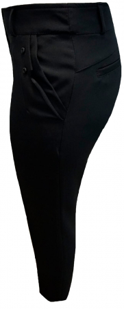 Pantaloni dama din stofa neagra cu buzunare - P0171