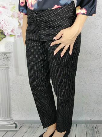 Pantaloni dama negri din tercot cu buline albe - P016 [0]