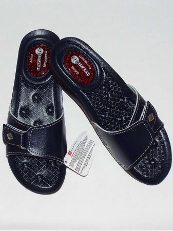 Papuci dama comozi cu gel pe talpa si catarama reglabila- Gezer Bleumarin [1]