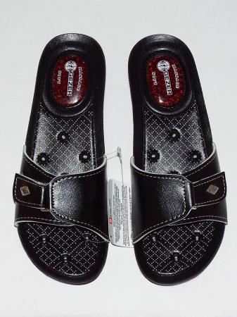Papuci dama comozi cu gel pe talpa si catarama reglabila- Gezer Negru [2]