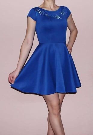Rochie albastra cu croi in clos si aplicatii florale la piept - RCC07 [0]