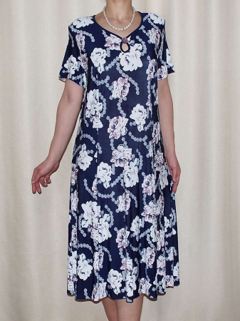 Rochie bleumarin cu imprimeu floral si brosa detasabila- Rina [0]