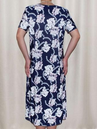 Rochie bleumarin cu imprimeu floral si brosa detasabila- Rina [1]