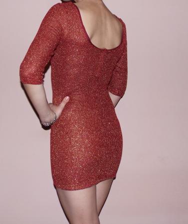 Rochie /bluza caramizie cu fir auriu si fermoar - Dress -0021