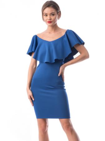 Rochie conica albastra cu volan supradimensionat - R619-2 [0]